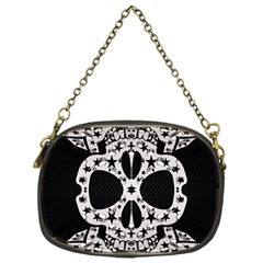 Metal Texture Silver Skulls  Chain Purse (one Side)