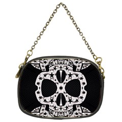 Metal Texture Silver Skulls  Chain Purse (two Sided)