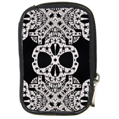 Metal Texture Silver Skulls  Compact Camera Leather Case