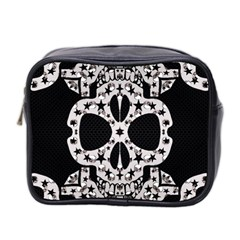Metal Texture Silver Skulls  Mini Travel Toiletry Bag (two Sides)