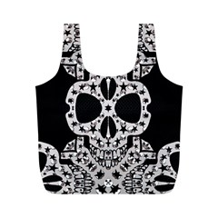 Metal Texture Silver Skulls  Reusable Bag (m)