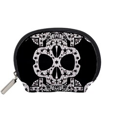 Metal Texture Silver Skulls  Accessory Pouch (Small)