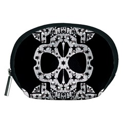 Metal Texture Silver Skulls  Accessory Pouch (Medium)
