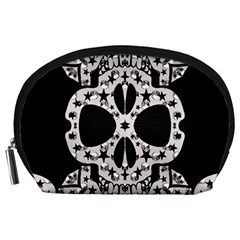 Metal Texture Silver Skulls  Accessory Pouch (large)
