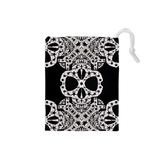 Metal Texture Silver Skulls  Drawstring Pouch (Small)
