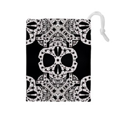 Metal Texture Silver Skulls  Drawstring Pouch (Large)