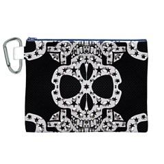 Metal Texture Silver Skulls  Canvas Cosmetic Bag (XL)