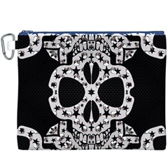 Metal Texture Silver Skulls  Canvas Cosmetic Bag (XXXL)