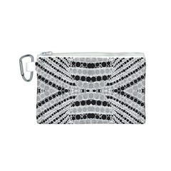 Insane Black&white Textured  Canvas Cosmetic Bag (Small)