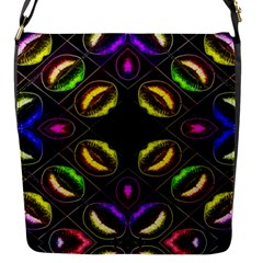 Sassy Neon Lips  Flap Closure Messenger Bag (small)