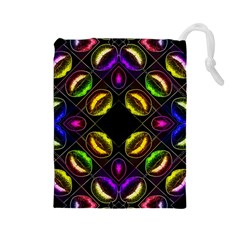 Sassy Neon Lips  Drawstring Pouch (Large)