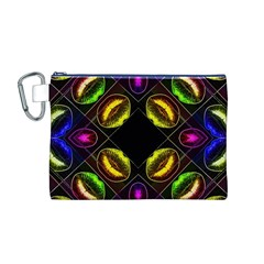 Sassy Neon Lips  Canvas Cosmetic Bag (medium)