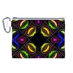 Sassy Neon Lips  Canvas Cosmetic Bag (Large)