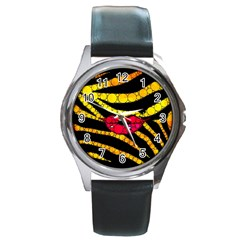 Mouthy Zebra  Round Leather Watch (silver Rim)