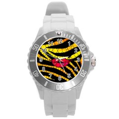 Mouthy Zebra  Plastic Sport Watch (large)