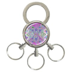 Pink Purple Abstract  3 Ring Key Chain