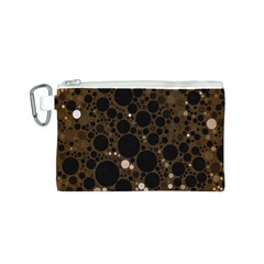 Brown Cream Abstract  Canvas Cosmetic Bag (Small)