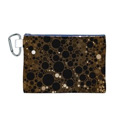 Brown Cream Abstract  Canvas Cosmetic Bag (Medium)