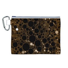Brown Cream Abstract  Canvas Cosmetic Bag (Large)