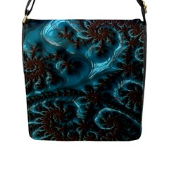 Glossy Turquoise  Flap Closure Messenger Bag (large)