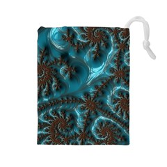 Glossy Turquoise  Drawstring Pouch (Large)