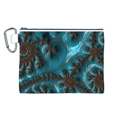 Glossy Turquoise  Canvas Cosmetic Bag (Large)