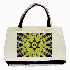 Bright Yellow Black  Twin Sided Black Tote Bag