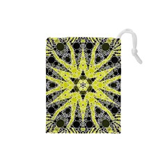 Bright Yellow Black  Drawstring Pouch (Small)