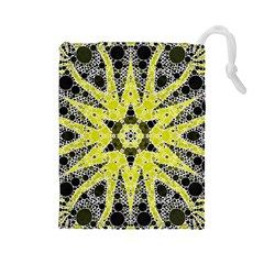 Bright Yellow Black  Drawstring Pouch (Large)