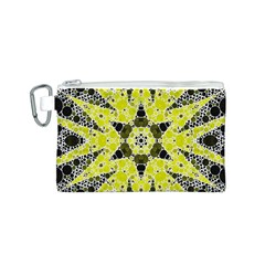 Bright Yellow Black  Canvas Cosmetic Bag (Small)