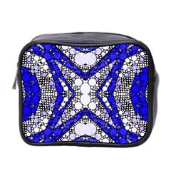 Flashy Bling Blue Silver  Mini Travel Toiletry Bag (two Sides)