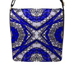 Flashy bling Blue Silver  Flap Closure Messenger Bag (Large)