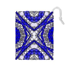 Flashy bling Blue Silver  Drawstring Pouch (Large)