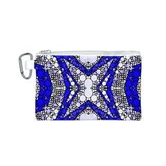 Flashy Bling Blue Silver  Canvas Cosmetic Bag (small)