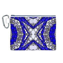 Flashy bling Blue Silver  Canvas Cosmetic Bag (Large)