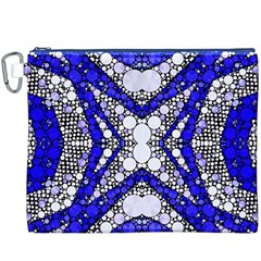 Flashy bling Blue Silver  Canvas Cosmetic Bag (XXXL)