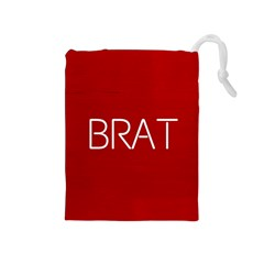 Brat Red Drawstring Pouch (medium)