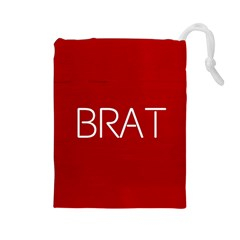 Brat Red Drawstring Pouch (Large)