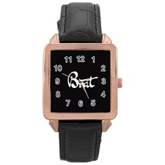 Brat Blk Rose Gold Leather Watch
