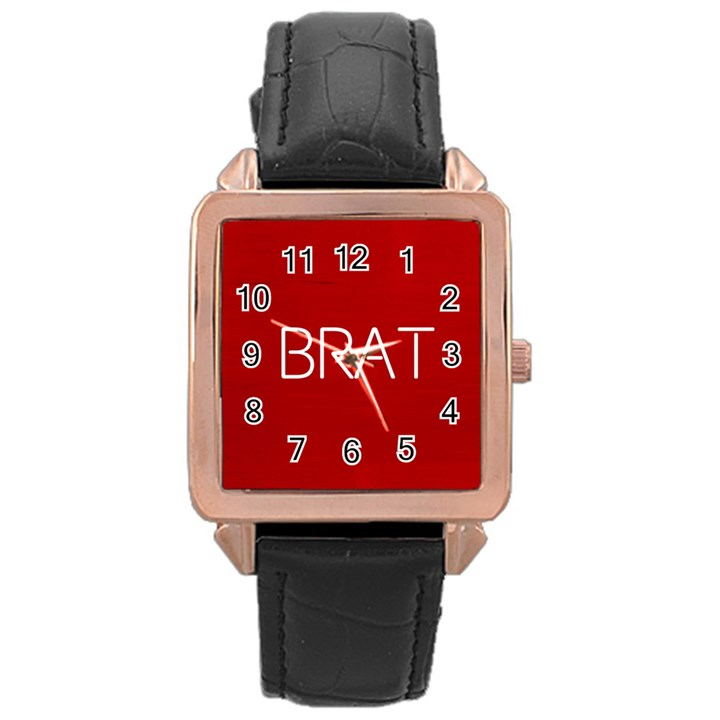 Brat Red Rose Gold Leather Watch