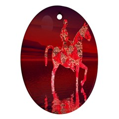 Riding At Dusk Oval Ornament