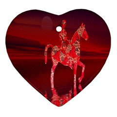 Riding At Dusk Heart Ornament
