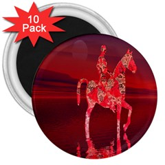 Riding At Dusk 3  Button Magnet (10 Pack)