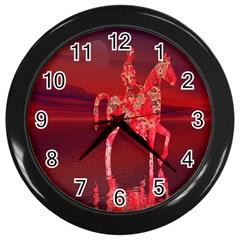 Riding At Dusk Wall Clock (black)