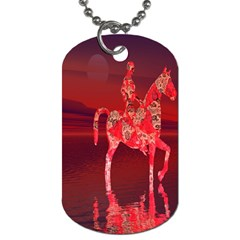 Riding At Dusk Dog Tag (one Sided)