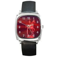 Riding At Dusk Square Leather Watch