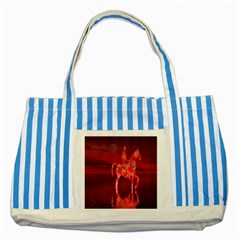 Riding At Dusk Blue Striped Tote Bag