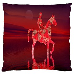 Riding At Dusk Large Flano Cushion Case (two Sides)