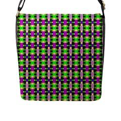 Pattern Flap Closure Messenger Bag (large)