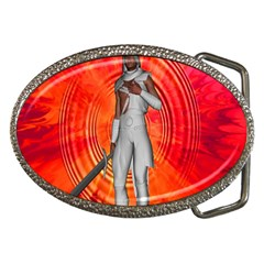 White Knight Belt Buckle (oval)